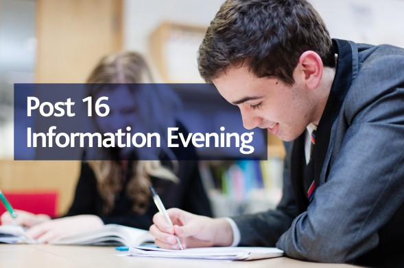 Post 16 Open Evening banner behind a male student working at a desk